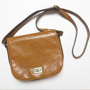 Bueno Camel Brown Ostrich Crossbody Purse Bag
